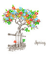spring tree in bloom vector image vector image