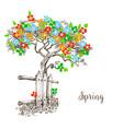 spring tree in bloom vector image