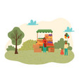summer park with food festival for family time vector image