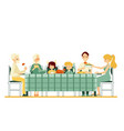 three generation family together at dinner vector image