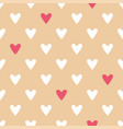 tile pattern with white and red hearts on pink vector image vector image