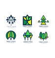 tree logo templates collection green lined badges vector image vector image