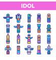 tribal ancient idols linear icons set vector image