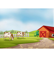 Two cows at the farm with a barn and fence vector | Price: 1 Credit (USD $1)