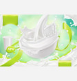 white cream splash yoghurt sour cream sauce 3d vector image