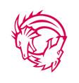 yin yang dragon and wolf icon vector image