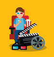 young man with glasses 3d and cinema icons vector image vector image
