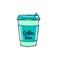 coffee time cup hand-drawn vector image