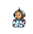 angry woman astronaut isolated on white background vector image vector image
