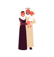 arabian family with son in traditional clothes vector image