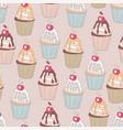 beautiful yummy cupcake seamless background vector image vector image
