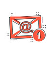 cartoon email envelope message icon in comic vector image