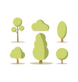 cartoon set green trees vector image