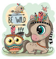 cartoon tribal horse and owl with feathers vector image