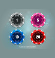 casino coins chips set on bokeh background vector image vector image
