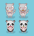 cats and panda with food vector image