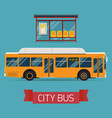 City Bus and Shelter Icon vector image vector image