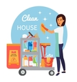 Cleaning service staff janitor with trolley full vector image vector image
