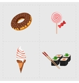 Colorful Fast Food Icon Set on White Background vector image vector image