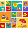 colorful set of summer icons happy holidays vector image