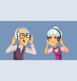 funny senior couple wearing headphones listening vector image vector image