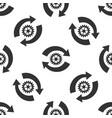 gear and arrows as workflow icon seamless pattern vector image