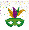 green carnival mask and colorful feathers with vector image vector image