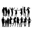 happy family and sexy girl silhouettes vector image vector image