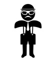 Hipster man in suit and tie silhouette Isolated on vector image vector image