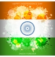 India independence day flag with paint spots vector image