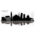 italy skyline black and white silhouette with vector image vector image