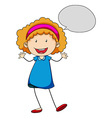 Little girl with bubble speech vector image vector image
