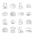 lunchbox food icons set outline style vector image