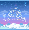 merry christmas greeting card with snowy mountains vector image vector image