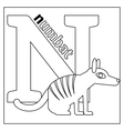 Numbat letter N coloring page vector image vector image