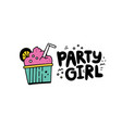 party girl sticker vector image vector image