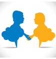 people like message bubble hand shake vector image vector image