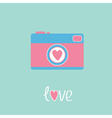 Photo camera with heart Love card vector image vector image