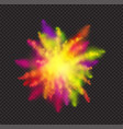 realistic color dust for holi festival on dark vector image