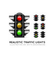 realistic traffic light on a white background in vector image vector image