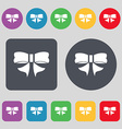 Ribbon Bow icon sign A set of 12 colored buttons vector image vector image