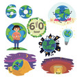 set earth hour concept save planet 60 minut or one vector image vector image