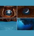 set of inside cave scene vector image