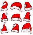 set of santa claus hats christmas theme design vector image vector image