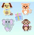 set stickers animals dog elephant cat monkey vector image