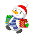 snowman is carrying two big box gift for christmas vector image vector image