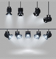 spotlights with white light collection isolated on vector image vector image