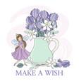 spring fairy season iris bouquet flower princess vector image
