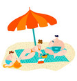 summer beach with family relax on sand under sun vector image vector image