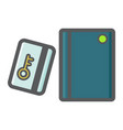 Swipe card reader with keypad colorful line icon vector image